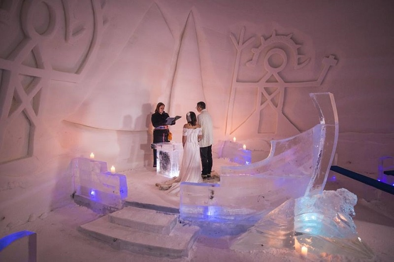 Unique Ceremony Wedding Venue at Luvattumaa Levi Ice Castle & Hotel Lapland - To find out more visit Weddings Abroad Guide