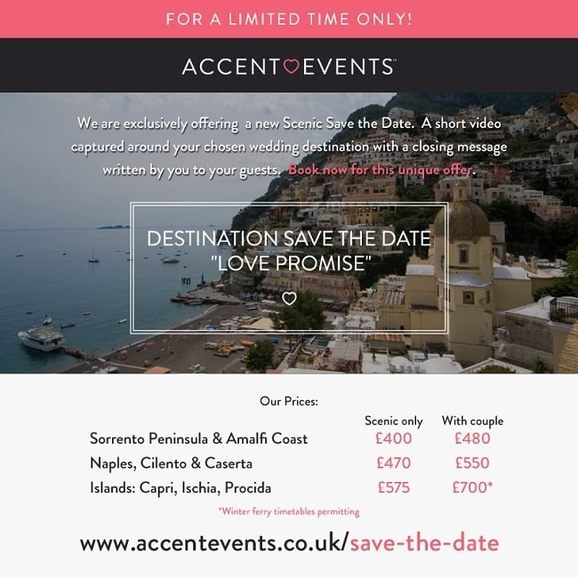 Save the Date Video Special Offer for Weddings in Italy by Accent Events
