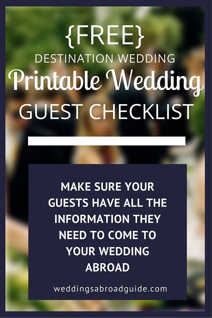 guest information checklist for a destination wedding weddings