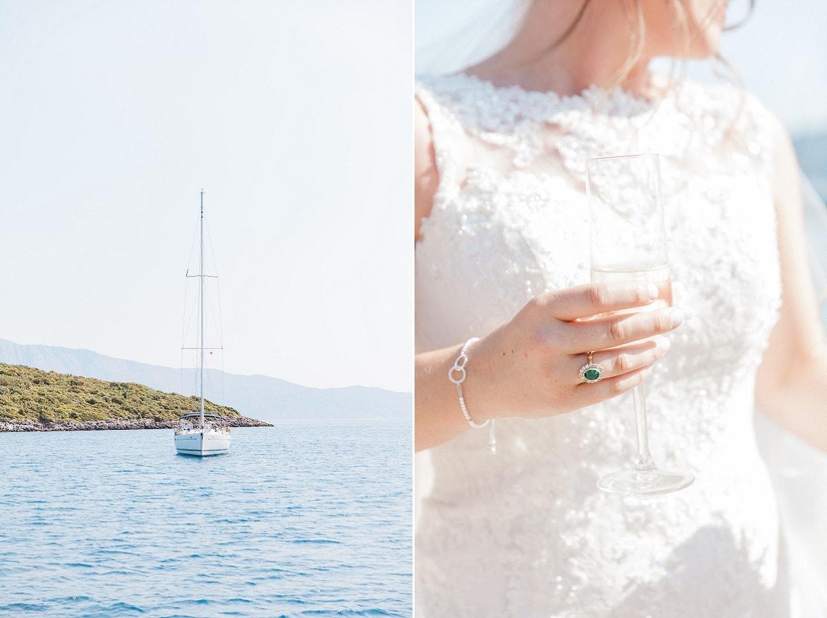 Boat Drinks Reception - Greek Wedding Abroad | Planned by Lefkas Weddings | Maxeen Kim Photography