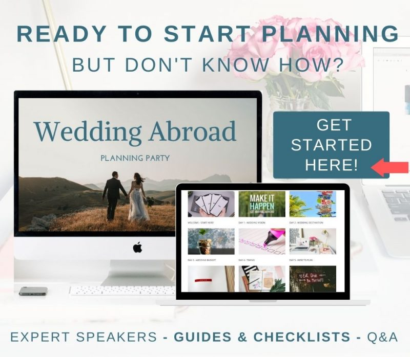 Join the Weddings Abroad Guide Planning Party - Online Destination Wedding Planning Help to Kick Start Your Wedding Planning.